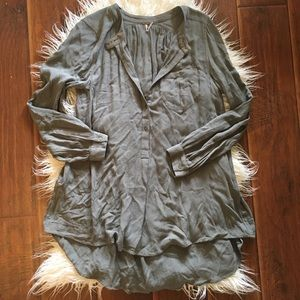 Free People Pull Over Button Down Tunic Top
